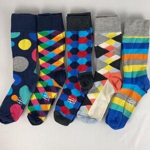 Happy Socks Brand Men's Crew Socks - 5 Pairs